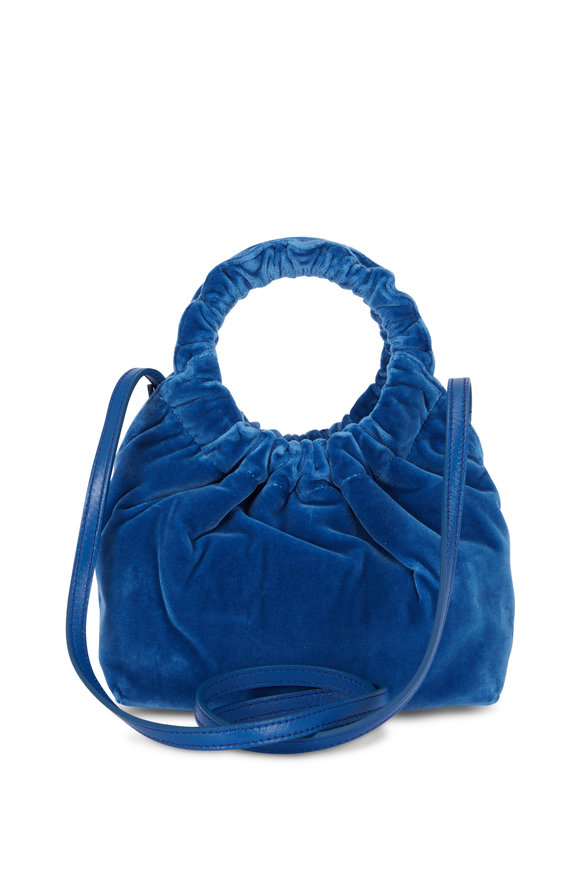 The Row Double Circle Blue Velvet Small Bag