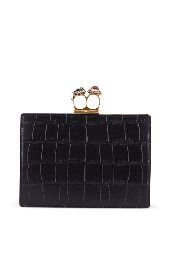 Alexander McQueen Black Crocodile Embossed Double Ring Clutch