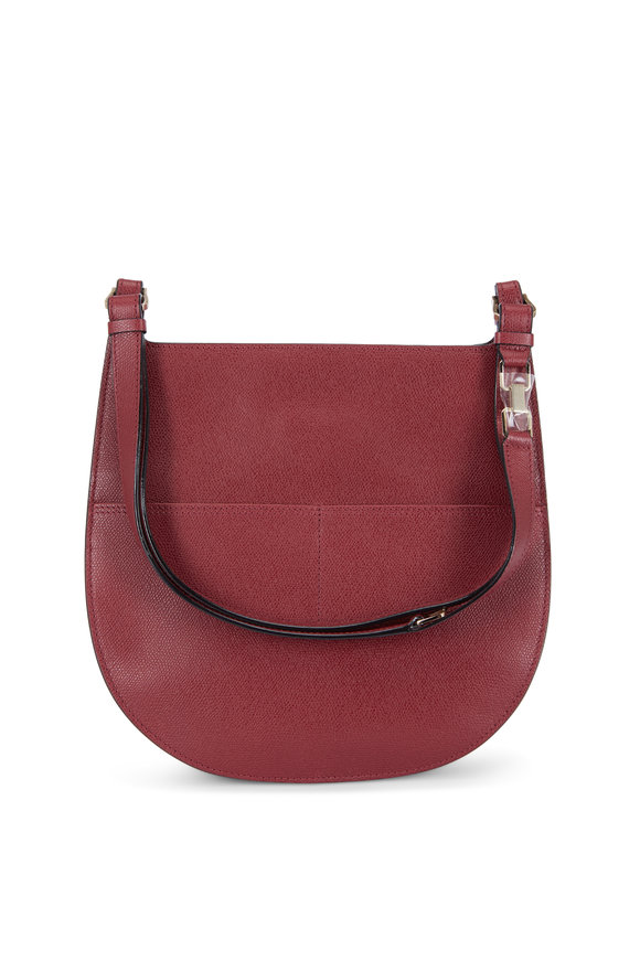 Valextra Weekend Wine Saffiano Convertible Small Hobo Bag