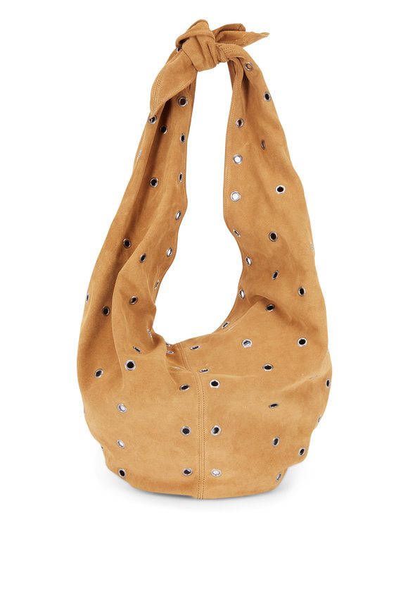 Saint Laurent Tan Suede & Grommet Hobo Bag