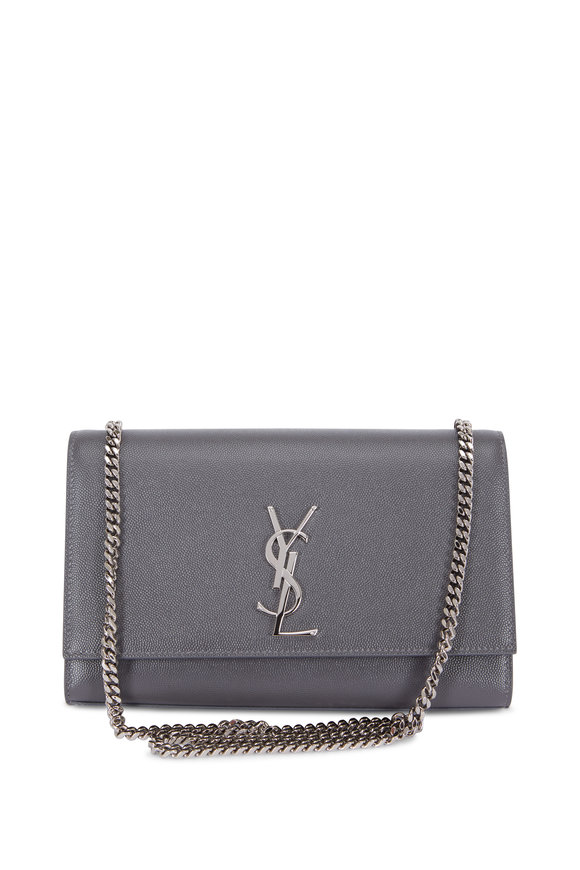 Saint Laurent Kate Monogram Storm Gray Chain Shoulder Bag