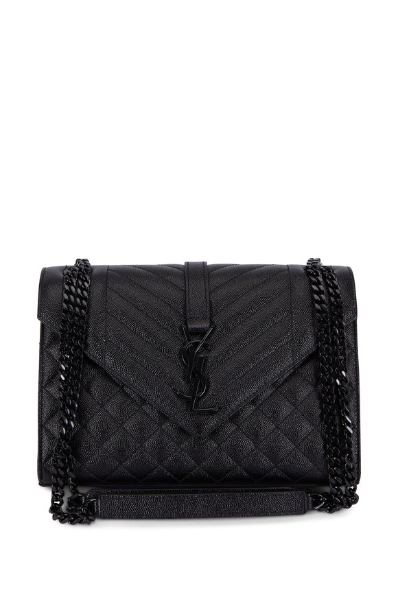 Saint Laurent Monogram Envelope Black Quilted Shoulder Bag