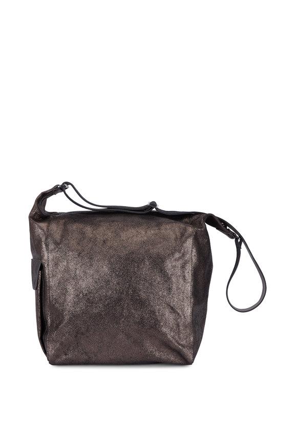 Brunello Cucinelli Graphite Metallic Leather Large Hobo Bag