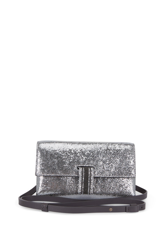 Brunello Cucinelli Platino Crackled Leather Chain Wallet