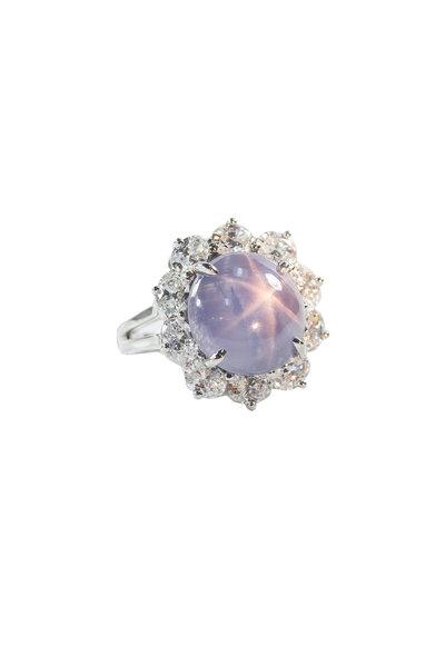 Oscar Heyman - Platinum Star Sapphire & Diamond Cocktail Ring