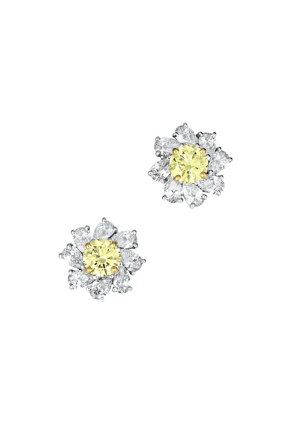 Oscar Heyman Platinum Yellow & White Diamond Earrings