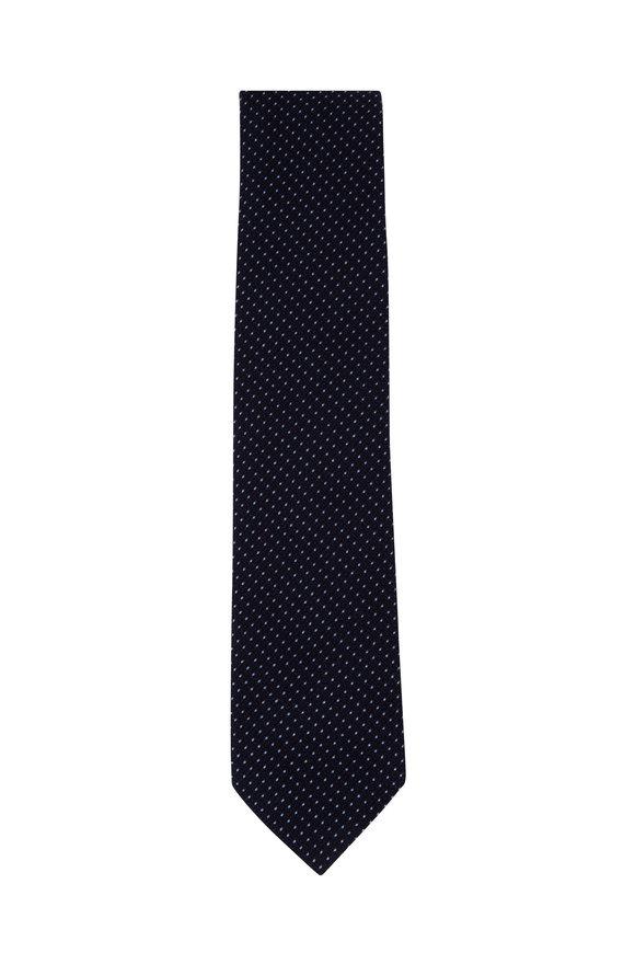 Brioni Navy Blue Mini Dot Silk Blend Necktie