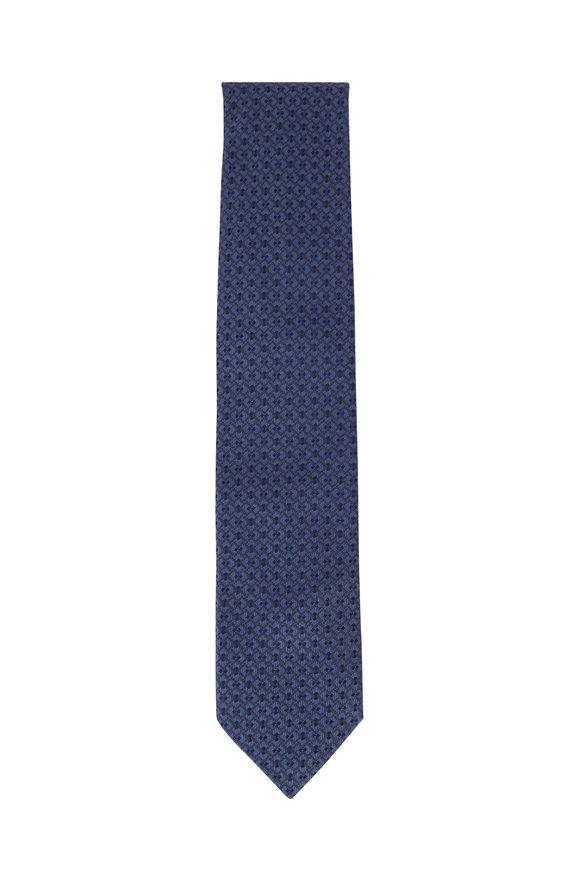 Brioni Medium Blue Geometric Silk Necktie