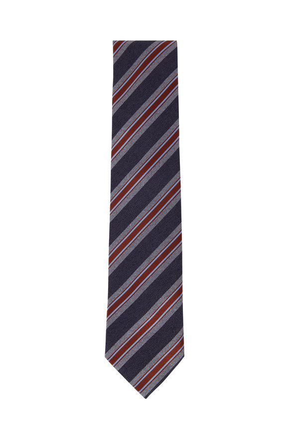 Brioni Navy Blue Stripe Silk Necktie