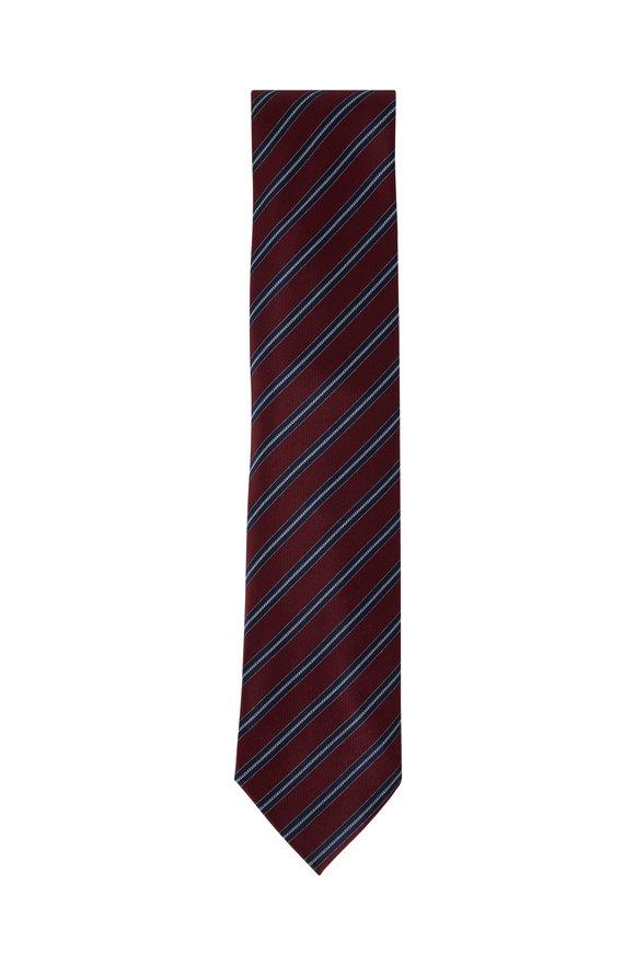 Brioni Red Diagonal Stripe Silk Necktie