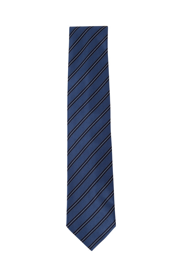 Brioni Slate Diagonal Stripe Silk Necktie