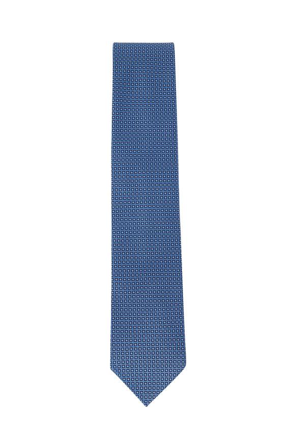 Ermenegildo Zegna Blue Geometric Silk Necktie