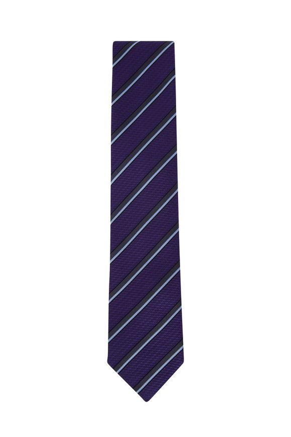 Ermenegildo Zegna Blue Diagonal Stripe Silk Necktie