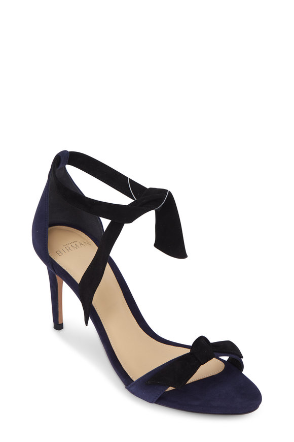 Alexandre Birman Clarita Night Shade & Black Suede Tie Sandal, 75mm