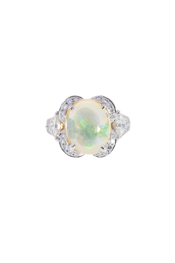 Oscar Heyman Platinum Mexican Fire Opal Cocktail Ring