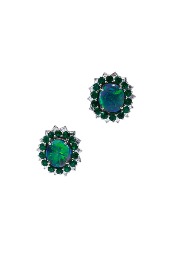 Oscar Heyman Platinum Opal, Emerald & Diamond Earrings