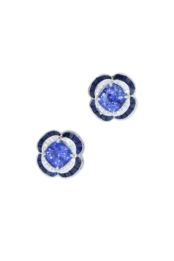 Oscar Heyman Platinum Madagascar Sapphire & Diamond Earrings