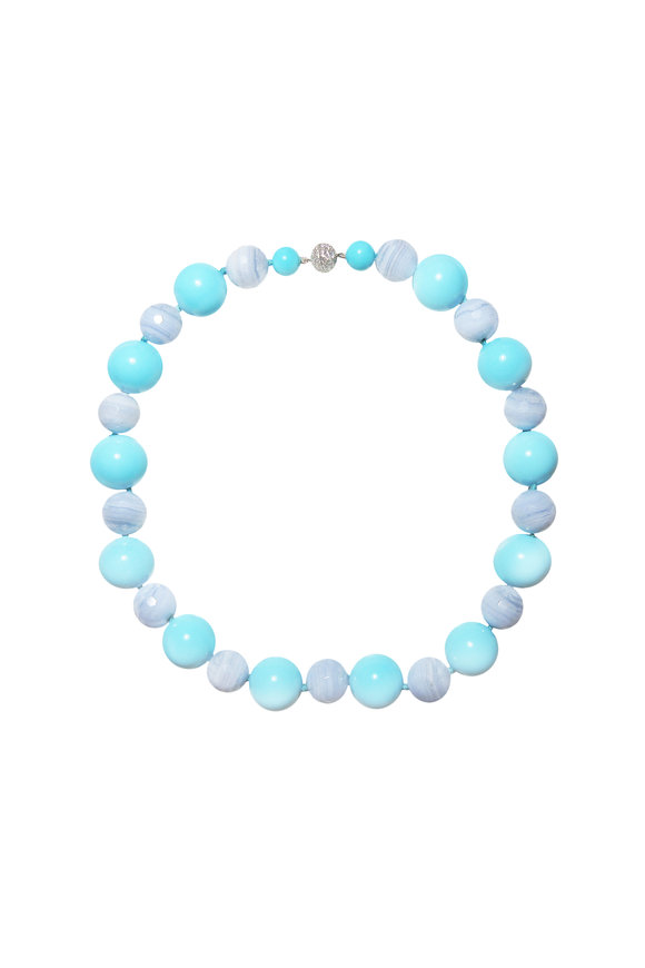 Paolo Costagli 18K White Gold Turquoise & Blue Agate Necklace