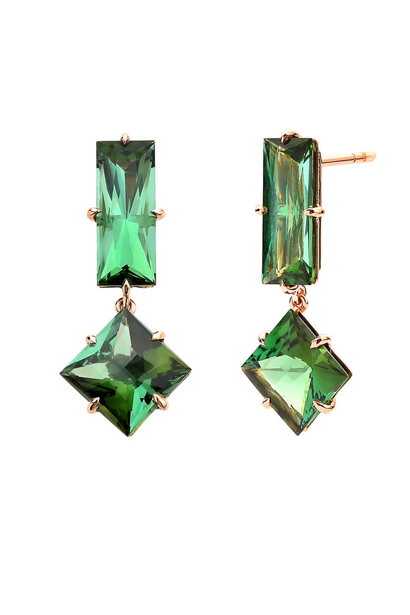 Paolo Costagli 18K Rose Gold Green Tourmaline Drop Earrings