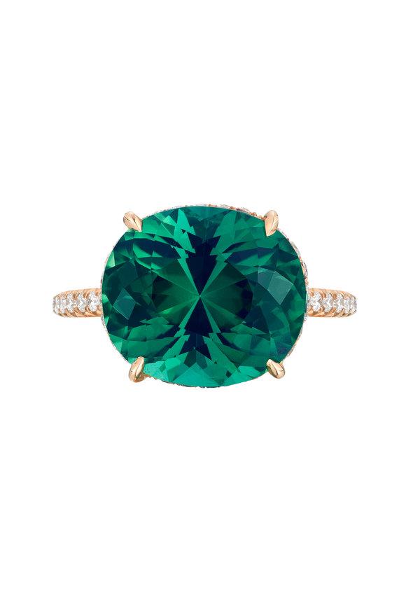 Paolo Costagli 18K Rose Gold Green Tourmaline & Diamond Ring
