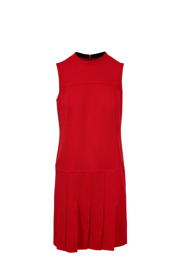 Akris Punto Lipstick Red Pleat Front Shift Dress