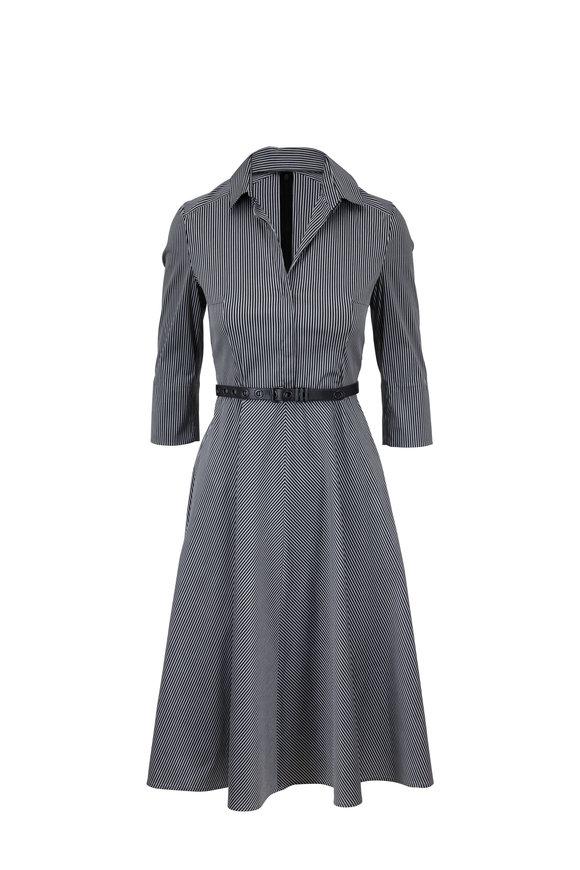 Akris Punto Black & Silver Striped A-Line Dress