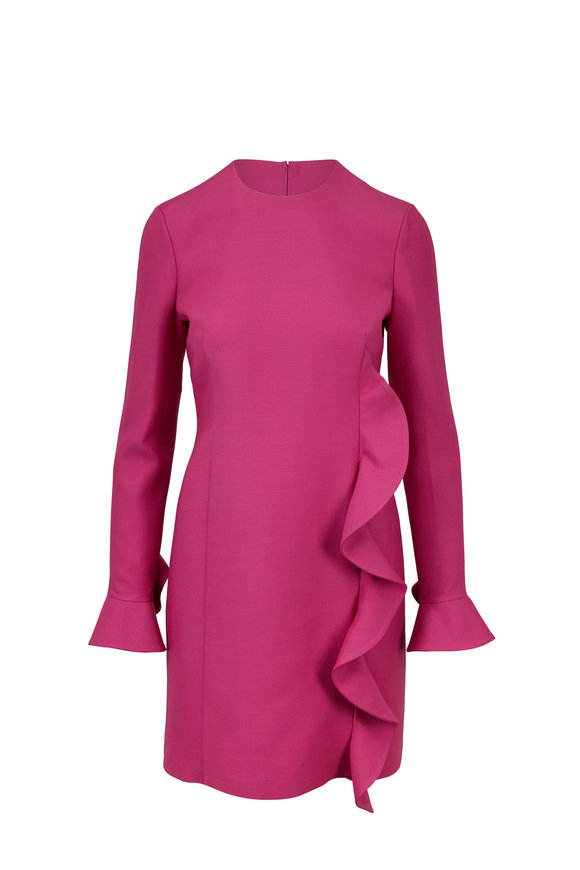 Valentino Fuchsia Wool & Silk Ruffle Front Dress