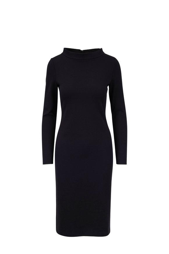 Emporio Armani Black Stand Collar Sheath Dress