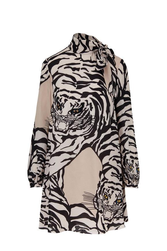 Valentino Powder Pink Silk Georgette Tiger Print Dress