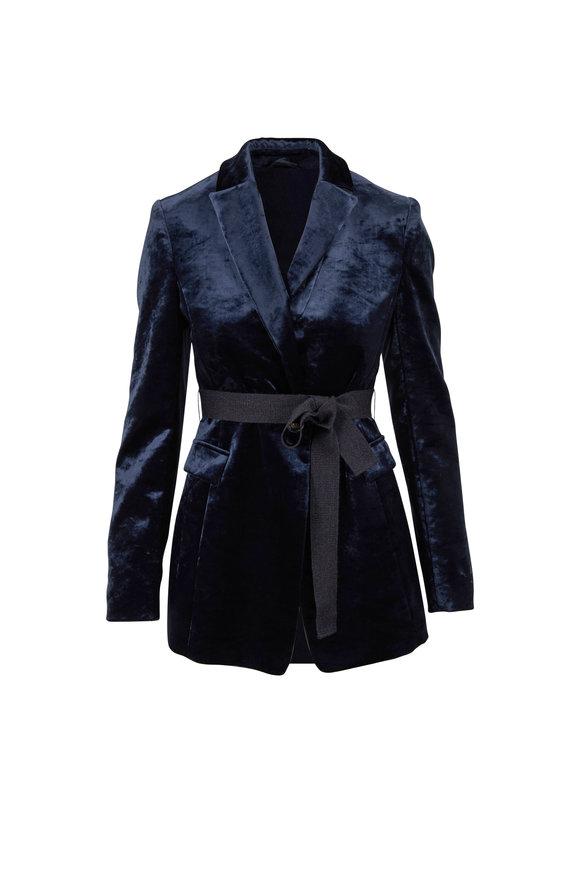 Brunello Cucinelli Anthracite Velvet Double Collar Belted Jacket