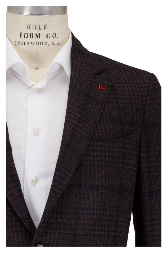 Isaia Brown & Charcoal Wool Plaid Sportcoat