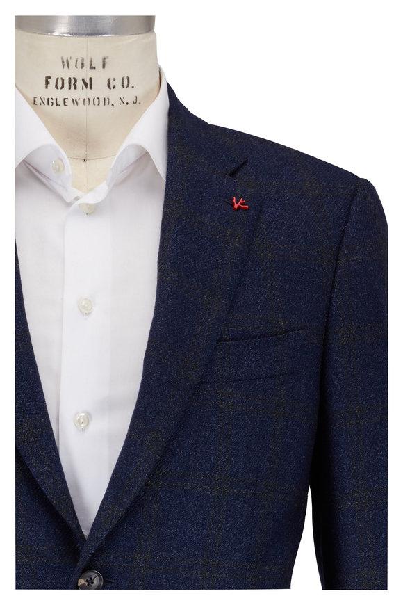 Isaia Navy Blue Melange Basketweave Jacket