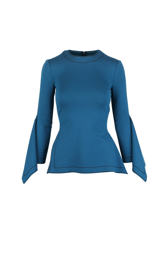 Rosetta Getty Teal Draped Panel Jersey Knit Top