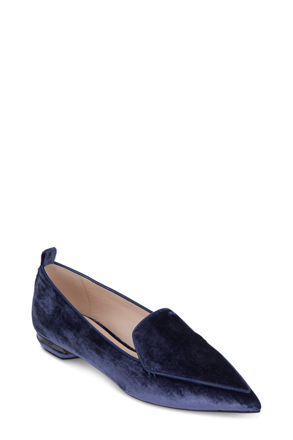 Nicholas Kirkwood Beya Navy Blue Velvet Loafer