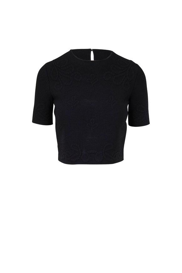 Alexander McQueen Black Jacquard Short Sleeve Crop Top
