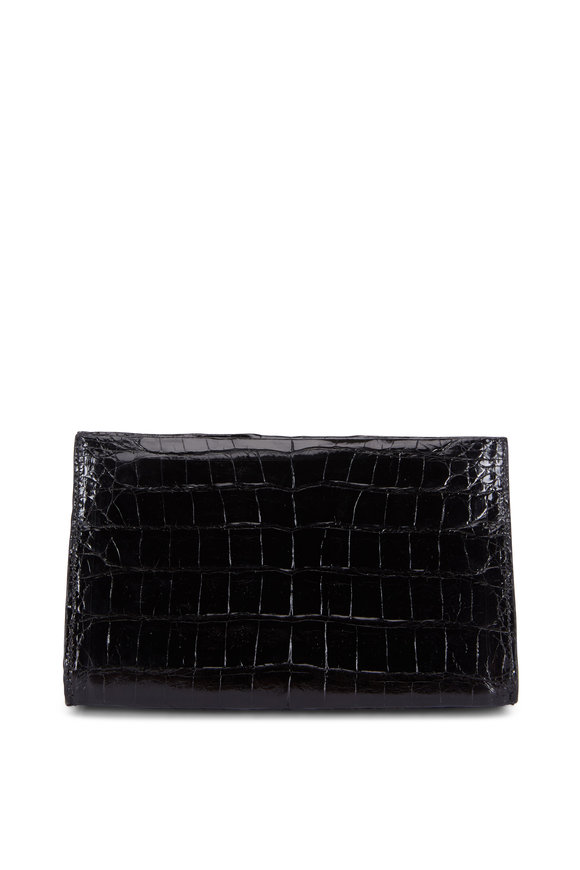 Nancy Gonzalez Black Crocodile Pyramid Clutch