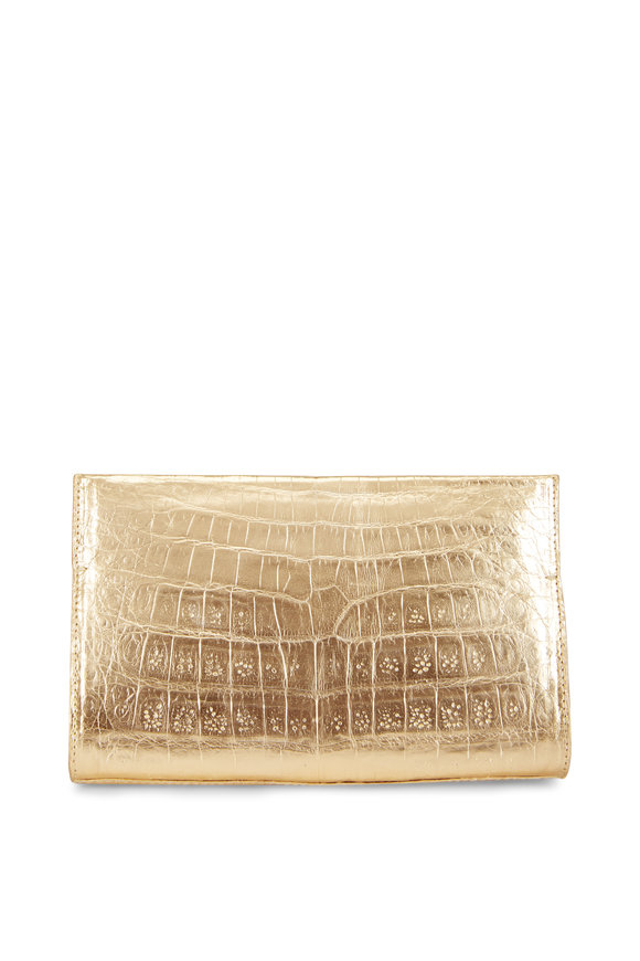 Nancy Gonzalez Champagne Crocodile Pyramid Clutch