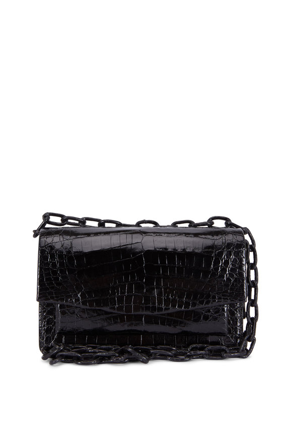 Nancy Gonzalez Black Glossy Crocodile Chain Small Bag