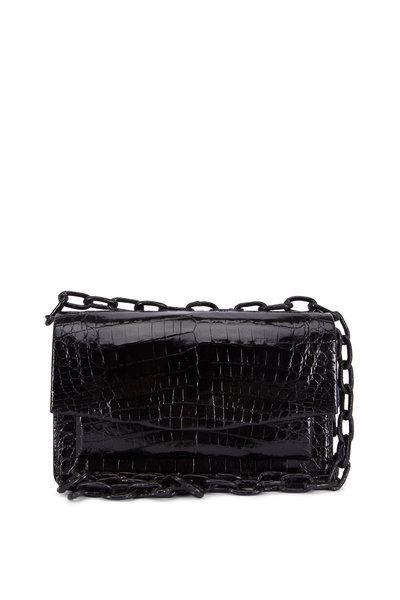 Nancy Gonzalez - Black Glossy Crocodile Chain Small Bag