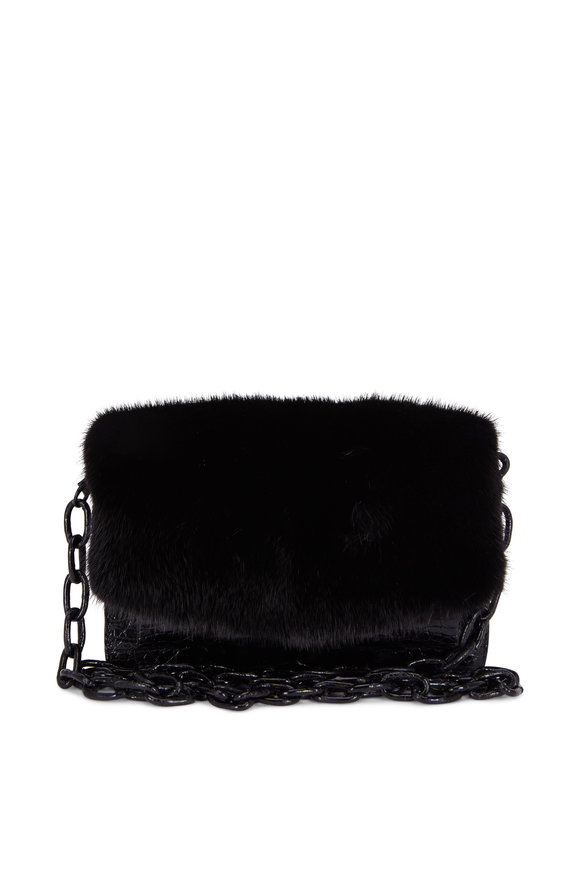 Nancy Gonzalez Black Glossy Crocodile & Mink Chain Small Bag