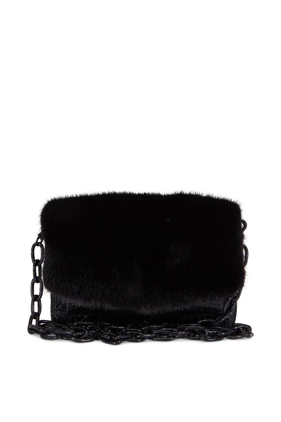 Nancy Gonzalez Black Glossy Crocodile & Mink Chain Small Bag