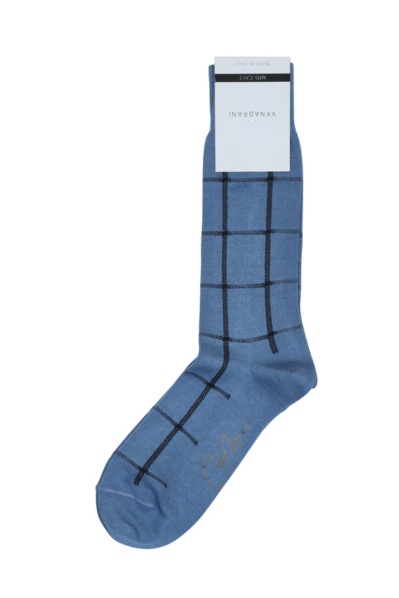 VKNagrani Blue Windowpane Socks