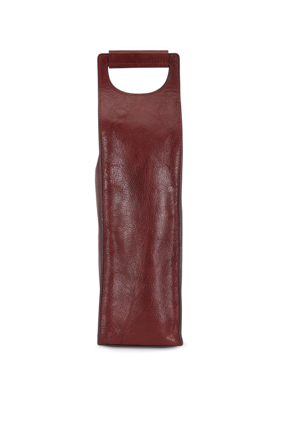 Bosca Brown Leather Travel & Gift Single Wine Bag