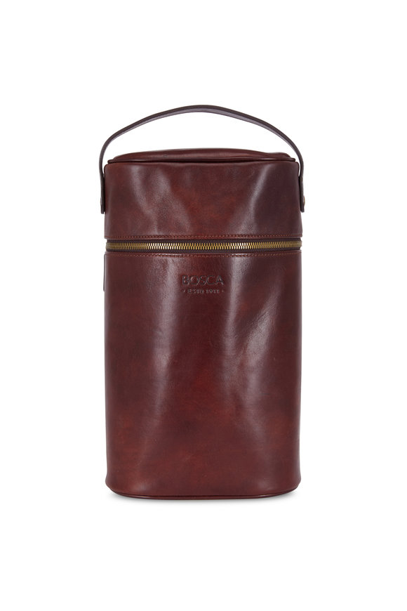 Bosca Dark Brown Leather Two Bottle Wine Case