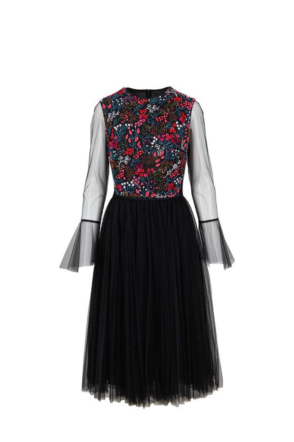 Carolina Herrera Black Tulle Floral Embroidered Cocktail Dress