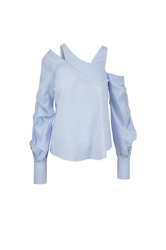 Jonathan Simkhai Blue & White Striped Asymmetric Top
