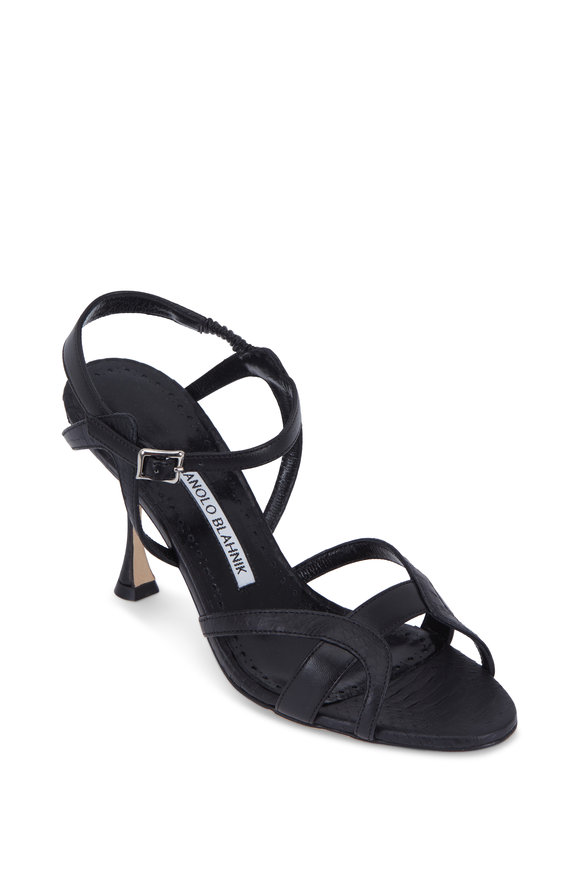 Manolo Blahnik Agara Black Snakeskin & Leather Sandal, 90mm