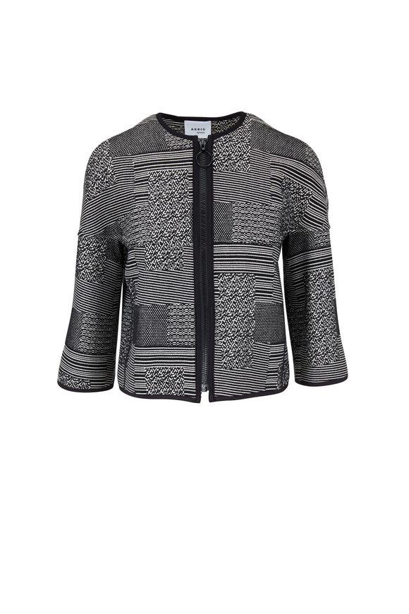 Akris Punto Black & Cream Tweed Zip Front Jacket
