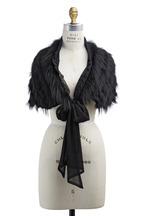 Oscar de la Renta Furs - Black Silver Fox Fur & Silk Stole