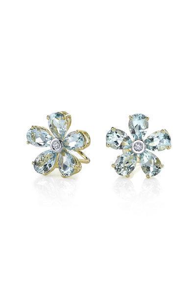 Aaron Henry - Gold Aquamarine Diamond Flower Earrings